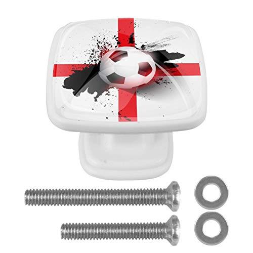 Perilla cuadrada para gabinete Bandera de fútbol de Inglaterra Perillas de cajón únicas hechas a mano para la decoración de la habitación de los niños en el hogar, paquete de 4 3x2.1x2 cm