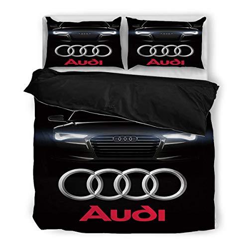 QWAS Auto-Logo Audi Bettbezug, Bettwäsche-Set, Mikrofaser-Full-Size-Set (A02,135x200cm+80x80cmx2)