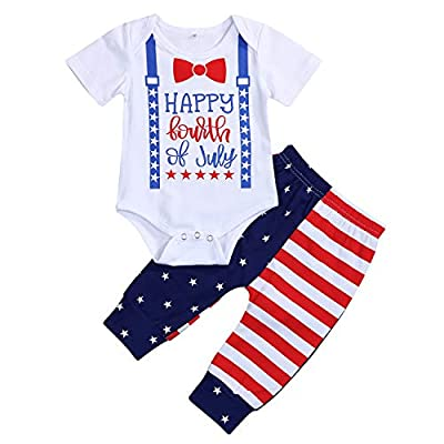 4th of July Newborn Baby Boy Outfits Gentleman Romper+Star Stripe Pants Independence Day 2PCS Set (Multicolor, 12-18 Months)