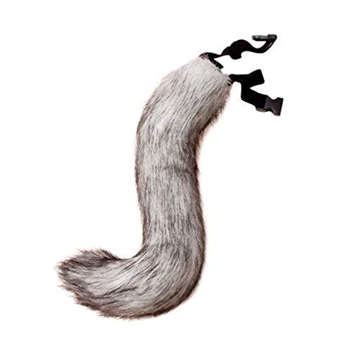 Amosfun echte Fuchsschwanz Flauschigen Fellschwanz verstellbaren Riemen Kunstfell Fuchs Kostüm für Cosplay Weihnachtsfeier Kostüm Requisiten (grau)