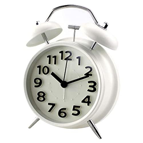 Aiong Despertador,DespertadorDobleReloj Despertador clásico de Cuarzo con Pantalla Digital de Doble Campana