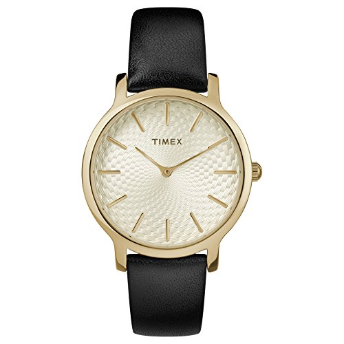 Timex Women's TW2T29000 Metropolitan 34mm Black/Gold-Tone Leather Strap Watch