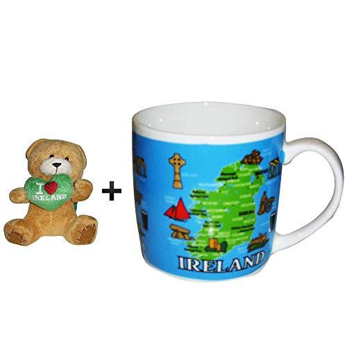 Irland Tasse und Spielzeug Beanie Bär, Geschenkset für St. Patricks Day oder Geburtstag