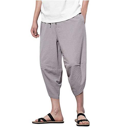 Momoxi Lose große, große, kurz geschnittene Hose aus Leinen mit grauem 2XL Frauen plissee reflektierende Bermuda lackhose Streifen steghose