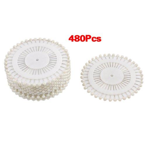 SODIAL(R) 480 pcs epingles Droites Pins epingles a Tete Ronde pour Couture Decoration de Mariage Artisanat DIY - Blanc