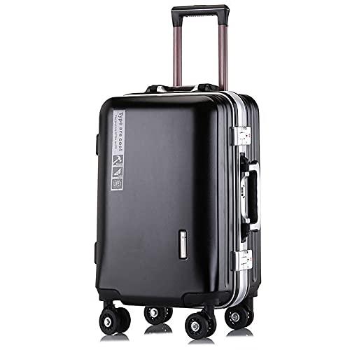 Valigia del carrello della struttura di alluminio, dimensione dei bagagli di viaggio: 20', 22', 24' colore: multicolore facoltativo, Black Aluminum Frame With Charging Port, 24 pollici,