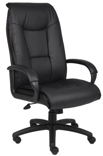 Boss Office Products Executive LeatherPlus Chair with Padded Arms in Black