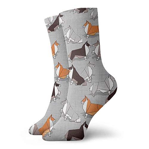 QUEMIN Origami Collie Doggie Friends Fondo de textura de lino gris Blanco Naranja Marrón Papel y cartón Perros Calcetines de sudor transpirables Calcetines para hombres Mujeres