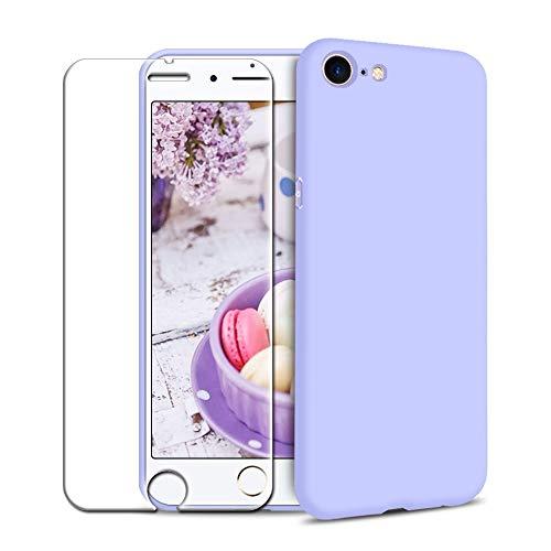Funda iPhone 7/ iPhone 8 + Protector de Pantalla de Vidrio Templado, Carcasa Ultra Fino Suave Flexible Silicona Colores del Caramelo Protectora Caso Anti-rasguños Back Case - Morado Claro