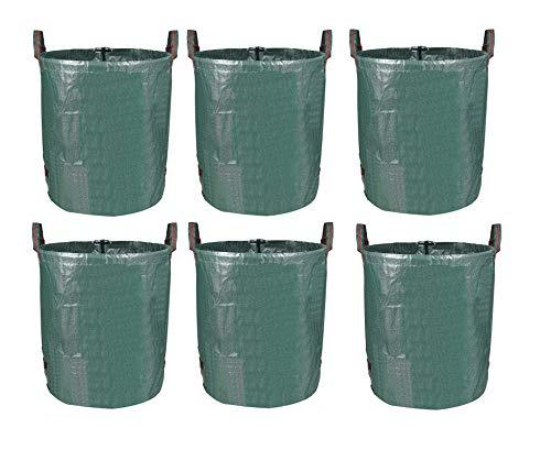 MVPOWER 272L Gartensack Gartenabfallsack aus robuste PP - selbststehend und faltbar - Abfallsäcke für Gartenabfälle Laub Rasen Pflanz Grünschnitt (6xSäcke)