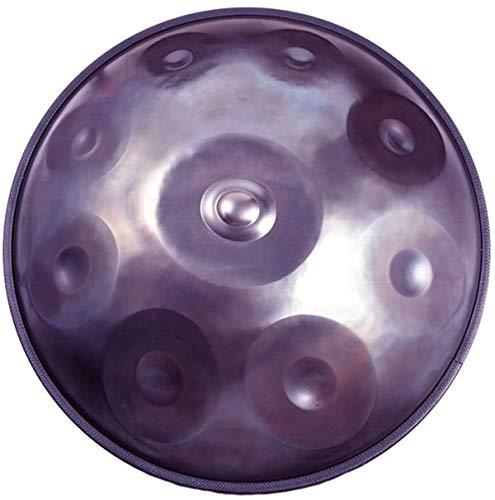 Tambores Handpan en D Minor 9 Notas Tambor de Acero, 22inch / 56cm armónica percusión for Sound Healing, 9 Notas D3 A BB C D E F G A, con Mano Suave Pan Bolsa, púrpura,Tongue Drum