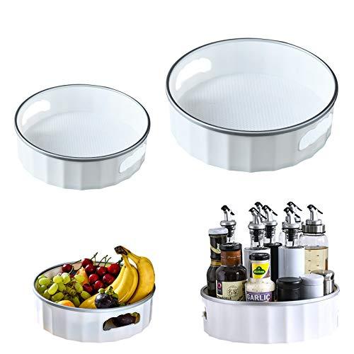 UHAPEER Estante para especias giratorio de 2 piezas, organizador de botellas de especias de 360°, caja de almacenamiento de cosméticos, bandeja robusta para especias para cocina, baño