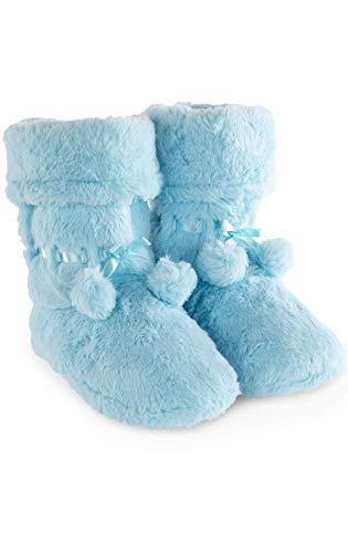 PajamaGram Bootie Slippers for Women - Pom-Pom Slipper Boots, Blue, 9/10