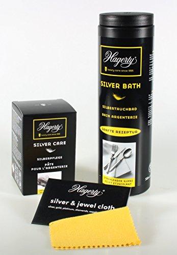 Hagerty Silber - Besteck - Reinigungs Set, bestehend aus Silver Bath (Silbertauchbad 580ml), Silver Care (Polierpaste mit integriertem Langzeit Anlaufschutz 185g) und einem kleinen Gratis Silber Poliertuch wenn es mal schnell und unauffällig gehen muss!
