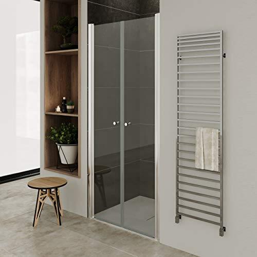 Moments of Glass Mampara de ducha 84-88 cm altura: 195 cm con puerta doble abatible 6mm Vidrio transparente de seguridad - DTC