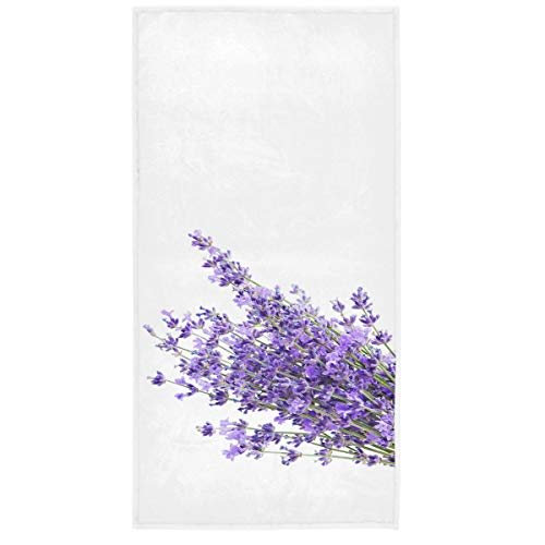 Vdsrup Beautiful Lavender Flowers Hand Towels 30 X 15 Inch Purple Poppy Bath Bathroom Towel Multipurpose Fingertip Towels Highly Absorbent for Hand Face Gym Spa