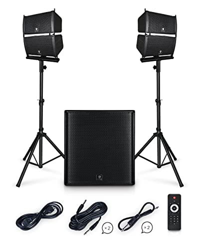PRORECK Club 4000 18-inch 4000W P.M.P.O Stereo DJ/Powered PA Speaker System Combo Set Line Array Speaker and 18 inch Active Subwoofer with Bluetooth/USB/SD Card/Remote Control