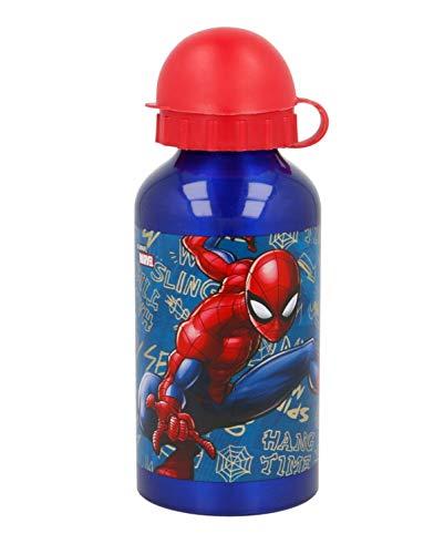 Theonoi Kinder Trinkflasche Sportflasche Wasserflasche Flasche Aluminium Aluminiumflasche 400 ml Geschenk Jungen (Spiderman)