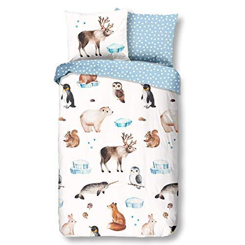 Aminata Kids Premium Biber-Bettwäsche Pinguin Eule Hirsch 135x200 cm + 80x80 cm, Baumwolle, Reißverschluss, Kinderbettwäsche mit Winter-Motiv, warm, weich & kuschelig, Weihnachten