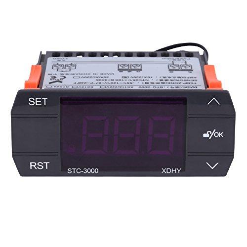 Walfront Termóstato Digital Controlador de Temperatura Tacto STC-3000 110V-220V con Sensor(110-220V30A)