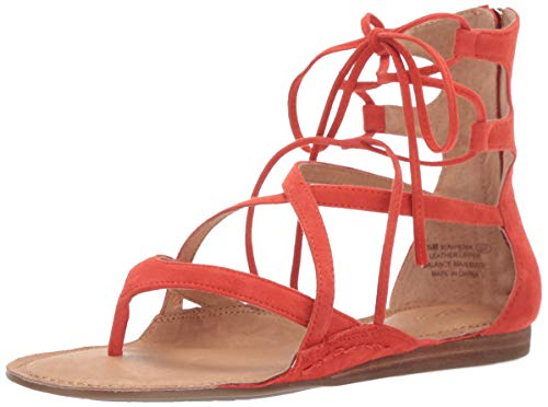 Aerosoles Scrapbook Flat Sandal, Orange Suede, 9 M US