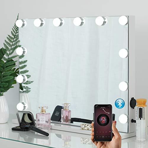 iCREAT Hollywood Schminkspiegel mit Bluetooth Lautsprecher Professionelle Kosmetikspiegel mit Beleuchtung für Kosmetikstudio, Salon, INS, auch für Wohnzimmer, Schlafzimmer, 58X46cm, mit 12 LED Licht