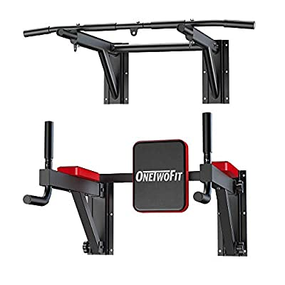 ONETWOFIT Multifunctional Wall Mounted Pull Up Bar Power Tower Set Chin Up Station Home Gym Workout Strength Training Equipment Fitness Dip Stand Supports to 330 Lbs