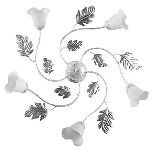 ONLI - Lampadario / plafoniera 5 luci Marilena in metallo bianco spennellato argento. Paralumi in vetro bianco. Prodotto lavorato a mano in Italia. Ø 70cm, metallo;vetro