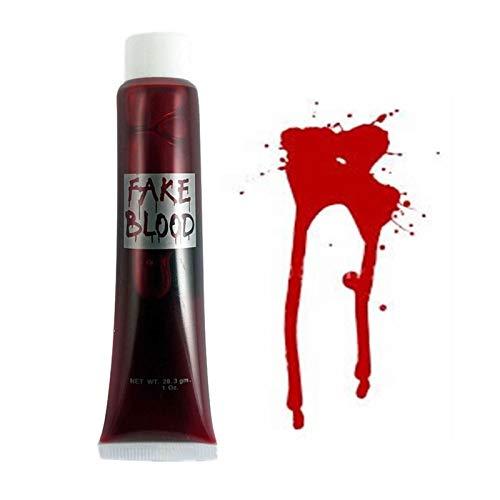 SHATCHI- 3 Confezioni di Falso Sangue Halloween Costume Accessorio Trucco Vestire Vampiro Zombie Make up teatrale Divertente Viso Vernice Corpo all'Ingrosso, Rosso, 5056141018829
