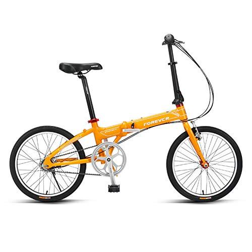 JKCKHA Bicicleta Plegable para Adultos, Ruedas De 20 Pulgadas, Transmisión De 5 Velocidades, Cuadro Ligero De Aleación De Aluminio, Amarillo