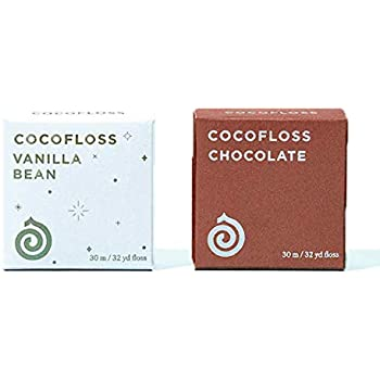 COCOFLOSS Coconut-Oil Infused Woven Dental Floss | Chocolate & Vanilla 2-Scoop Set | Dentist-Designed | Vegan and Cruelty-Free | 4-Month Supply (32 Yds x 2 Packs)