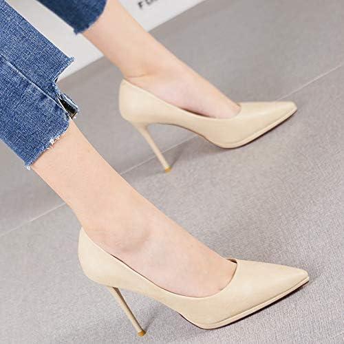 HRCxue zapatos de la Corte Temperamento de plataforma Impermeable a la Moda Puntiagudos Tacones de Aguja amarillo Solo Boca Boca zapatos Solos, 35, Beige