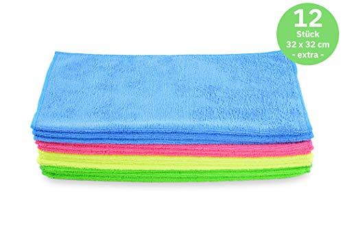 Hypafol Microfaser Handtücher | 12 St. | 32x32cm | pflegeleicht | Poliertuch, Putzlappen zur Oberflächen Reinigung | Microfasertuch gemischte Farben | Zur Autopflege, Gebäudereinigung, Gastronomie