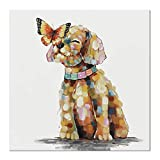 SEVEN WALL ARTS - Cute Dog Painting 100% Hand Painted Colorful Puppy Art Animal Butterfly Alighted on Dog Painting Modern Abstract Artwork Painting for Home Bedroom Office Pet House Decor 24 x 24 Inch