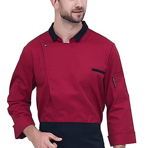 QWA Hombres Chaqueta de Cocinero Unisexo Mangas Largas Sushi Chaqueta de Chef, Respirable Secado Rápido Hotel Restaurante Cocina Uniforme Ropa de Trabajo (Color : Red, Size : F(4XL))