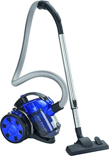 Clatronic BS 1308 Aspiradora ciclónica sin bolsa potente, filtro HEPA, tubo telescópico metal, cepillo mixto y rinconera,eficiencia energética A, 700 W, Acero Inoxidable, Azul
