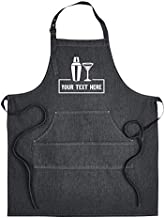Hot4TShirts Personalized Apron for Men & Women — Custom Denim Bartender Apron with Pockets — Customized Bartending Gifts (Black Denim)