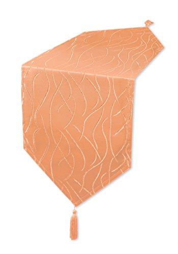 Unbekannt Tischläufer Damast Streifen Tischband Tischwäsche Mitteldecke #1144 (Terra hell, ca. 30x200 cm)