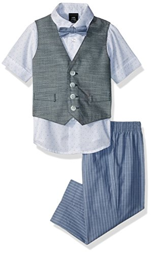 Sean John Baby Boys Four Piece Vest Set, Peacoat Herringbone, 12M