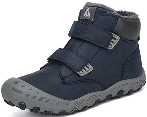 Putu Schneestiefel Jungen Winterschuhe Kinder Warm Gefüttert rutschfest Winterstiefel Mädchen Freizeit Schuhe Blau 28