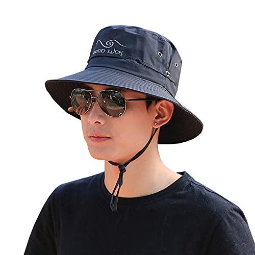 WFF Sombrero Masculino Al Aire Libre Sol Sombrero Cubierta Cara Sol Sombrero Juventud Sol Sombrero Ocio Hombres Sombrero De Pesca Ciclismo Pescador Sombrero(Color:Negro)