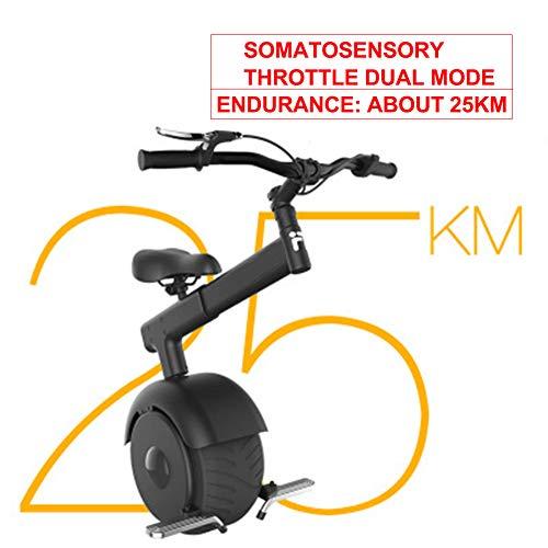 GHH Auto-Equilibrio E-Scooter Monociclo de Motocicleta de una Rueda Mini Freno de Monociclo Plegable eléctrico/Control somatosensorial 60V / 800W, Rango 25KM,Negro