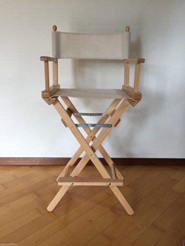 silla Director de alta Plegable silla Make Up truccatrice silla taburete de bar jardín (estructura Madera Natural + hecha Blanco Natural)