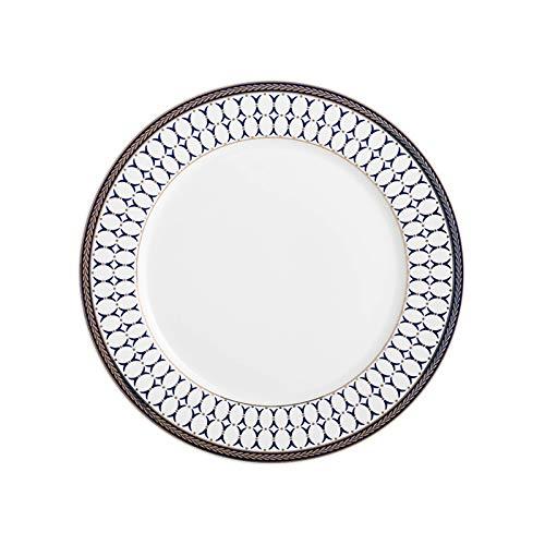 hongbanlemp Platos de cena con borde floral blanco, filete redondo de cerámica, postre, placa de pasta, plato avanzado para catering, 10 pulgadas, 4 platos (color: A, tamaño: 4 unidades)