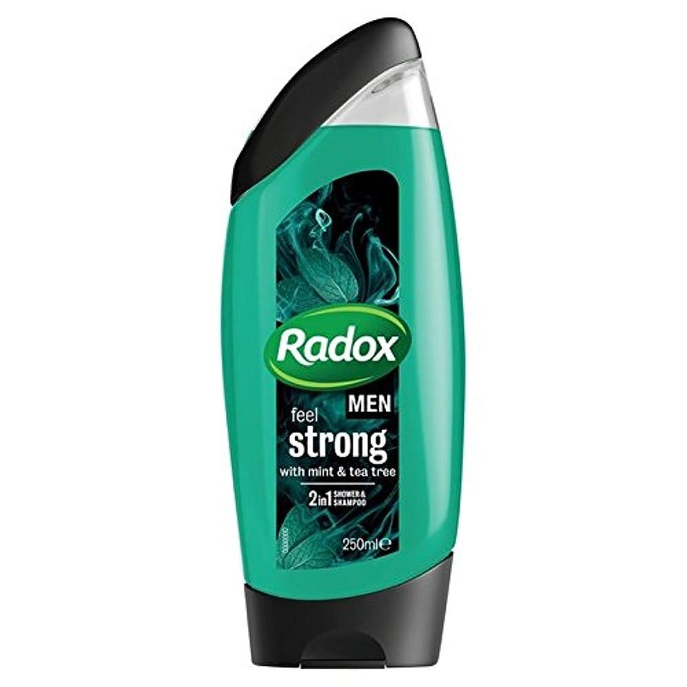 フィット平手打ち南アメリカ男性は、強力なミント&ティーツリーの21のシャワージェル250ミリリットルを感じます x2 - Radox Men Feel Strong Mint & Tea Tree 2in1 Shower Gel 250ml (Pack of 2) [並行輸入品]