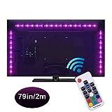WEKNOWU USB LED TV Hintergrundbeleuchtung, 2m LED Strip Kit mit Fernbedienung, LED Band Lichter 2m für 40-60 Zoll TV – 16 Farben SMD 5050 LEDs Ambiente Beleuchtung für HDTV (RF Fernbedienung)