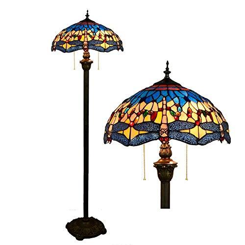 Tiffany - Lámpara de pie, diseño de Henley, 16 pulgadas, pintura de cristal, lámpara de pie, dormitorio, lámpara de pie, estilo Tiffany, vintage, para salón, 2 focos, E27