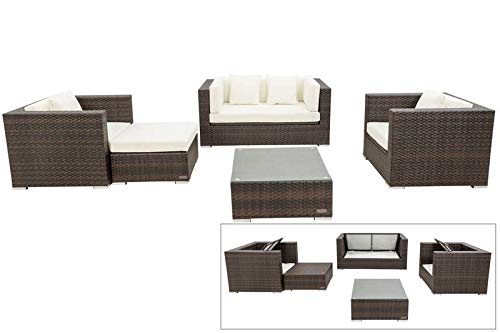 OUTFLEXX Loungemöbel-Set, Polyrattan, braun marmoriert, 5 Pers, wasserfeste Kissenbox, inkl. Beistelltisch
