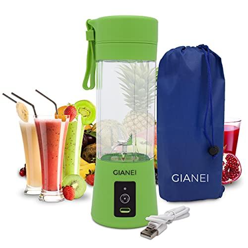 Gianei tragbarer Mixer Smoothie Maker - kleiner Entsafter für Gemüse und Obst, Smoothie Mixer to go mit Tragetasche, USB wiederaufladbarer Akku Mixer, 380 ml Becher, 6 Edelstahlmessern (Grün)