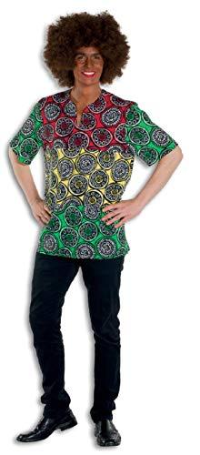L3301190-56-A - Disfraz afro para hombre, color verde, rojo y amarillo, talla 56